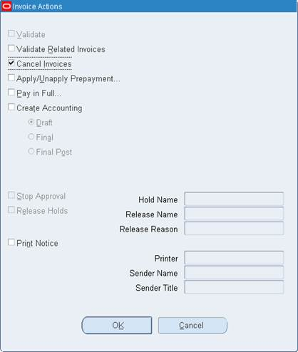 modifying or canceling an invoice